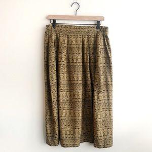 VTG Colin Karin Silk Tribal Print Midi Skirt